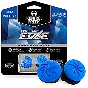 KontrolFreek FPS Freek Edge for PlayStation 4  PS4  and PlayStation 5  PS5  | Performance Thumbsticks | 1 High-Rise Convex 1 Low-Rise Convex | Blue