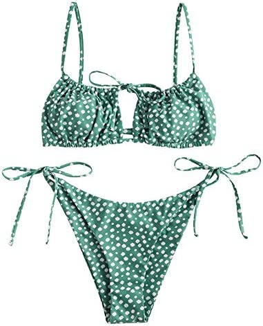 ZAFUL Women s Tie Cutout Keyhole Cami String Bikini Set Two Piece Swimsuit Floral Green S product image