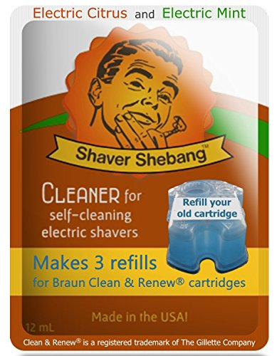 4 Pack Shaver Shebang Citrus&Mint Cleaner. Makes 12 Compatible Refills for Braun Clean & Renew cartridges - Made in USA -  Organek Living, SS-CL-SAN-2x0965-B