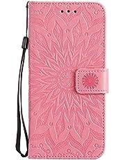 OMATENTI Galaxy S8 Plus ケース, 良質PUレザー 財布 フリップ ケース 耐衝撃性 衝撃吸収 液晶保護 ケース電話カバー 付きカードスロット, リストストラップ, 横置きスタンド機能付き, ピンク