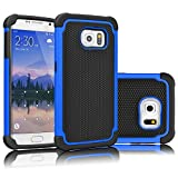 Tekcoo for Galaxy S6 Case, [Tmajor Series] [Blue/Black] Shock Absorbing Hybrid Rubber Plastic Impact Defender Rugged Slim Hard Case Cover Shell for Samsung Galaxy S6 S VI G9200 GS6 All Carriers