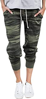 ANJUNIE Women Casual Solid Straight Leg Jogger Pants Waistband Bandage Mid-Waist Trousers