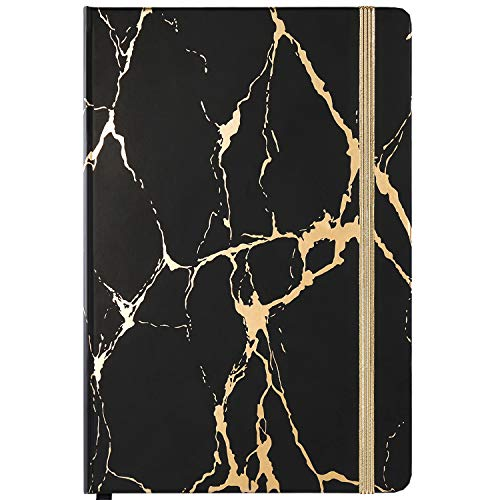 """Classic Ruled Notebook/Journal - Hardcover Notebook with Premium Thick Paper, 5.6""""×8.3"""", Golden & Black Marble Pattern, Perfect for Office Home School Business Writing & Note Taking"""