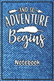 """Notebook """"And So Adventure Begins"""" jeans-blue: Schönes Notizbuch mit tollem Design als Geschenk für ..."""