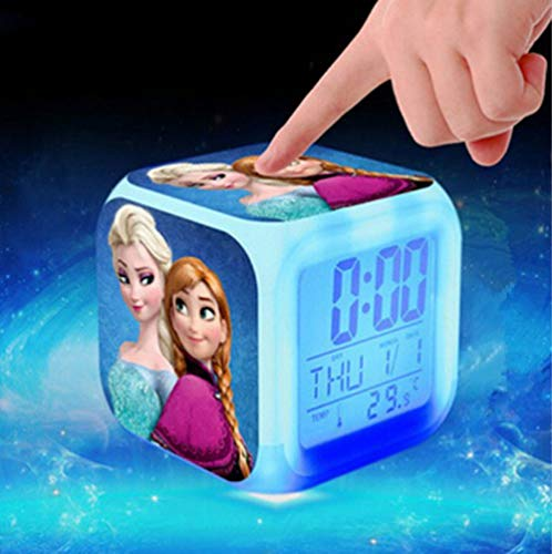 WH Digital-Wecker Farbwechsel LED Gefrorenes Cartoon-Muster Prinzessin Lisa Cartoon Spielzeug (Color : B)