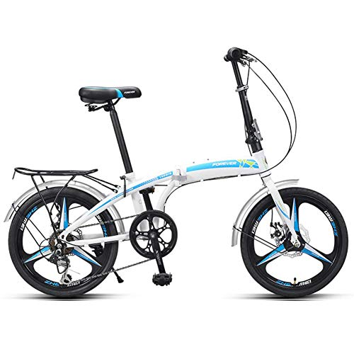 "Xiaoyue Erwachsene Falträder, 20\"" High-Carbon Stahl Folding City Bike Fahrrad, faltbares Fahrrad mit Rück Carry Ständer, Doppelscheibenbremse Fahrrad, Rot lalay (Color : Blue)"