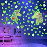 2 Sheets Glowing Unicorn Wall Decals with Glow in The Dark Stars and Heart Wall Murals Removable Unicorn Fluorescent Stickers for Kids Baby Bedroom Nursery Home Birthday Party