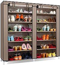 SAMALL 6 Tiers 12 Lattices two door Shoe Rack Shelf Storage Closet Organizer Cabinet (Brown)