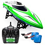 Force1 Velocity RC Boat - H102 Remote Control Boats for Pools and Lakes, 20+ mph High Speed Boat Toys (Green)
