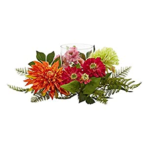 Nearly Natural Mixed Floral & Dahlia Candelabrum, 17″