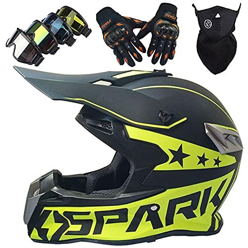 Casco Moto Integral, Cascos de Motocross de Moto Niños Set con Gafas/Máscara/Guantes, Casco Cross Unisex para Off Road Downhill Enduro MTB Quad BMX Bicicleta