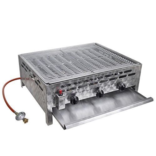 vidaXL Gastro Gasgrill mit 3 Brenner Grillrost Piezozündung BBQ Bräter Gas Grill Gasbräter Gastrobräter für Butan- und Propan-Gas Edelstahl 12 kW