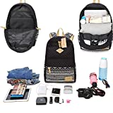 Neuleben Schulrucksack + Kühltasche + Mäppchen Schultaschen 3 Set aus Canvas für Jungen Mädchen Schule Freizeit (Schwarz) - 7