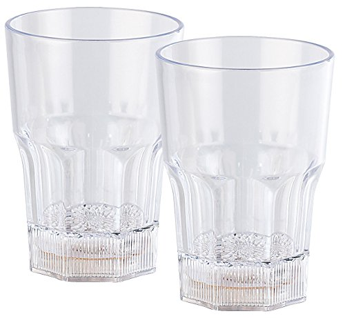 Lunartec Gläser mit LED Licht: 2er-Set Longdrink-Gläser mit LED-Farbwechsler, je 350 ml (LED Trinkglas)