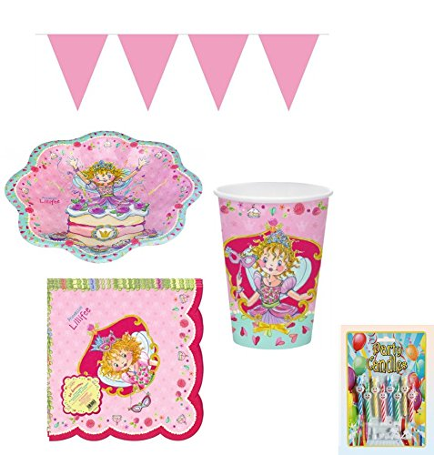 Kinderparty Partyset Partygeschirr 38 tlg. Prinzessin Lillifee von Spiegelburg (8 Teller, 8 Becher, 20 Servietten, 1 Mini Wimpelgirlande, 1 Geburtstagskerzenset)Kinderparty Geburtstag
