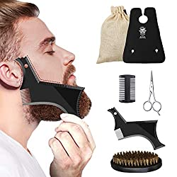 Beard Care Set Beard Brush Boar Bristle Beard Apron Beard Comb Wood Hizek Beard Care Set Men Beard Scissors Beard Stencil with Travel Bag, Odorless Natural