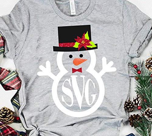 Toll2452 Schneemann-T-Shirt, Weihnachts-Monogramm-Shirt, Weihnachts-Monogramm-T-Shirt, Monogramm-Shirt, Weihnachts-Hemd, Urlaubs-T-Shirt
