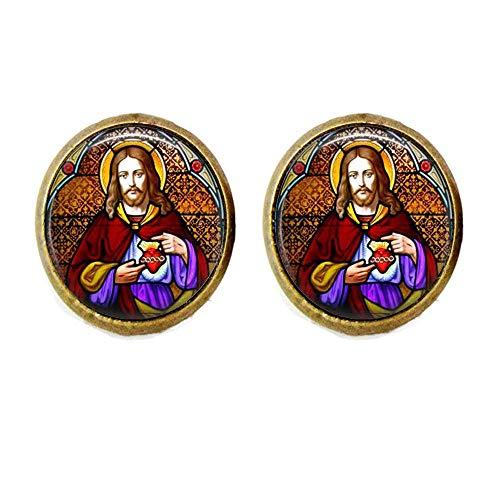 Manschettenknöpfe, Motiv: Jesus Christus, Kirche, Fenster, Glasmalerei, religiöse Kunst, Schmuck, Geschenk
