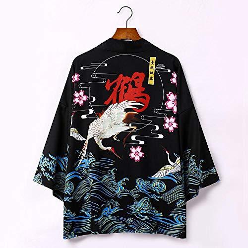 Kimono Japonés Cardigan Hombres Verano NuevoSamurai Kimonos Karate Streetwear Camisa Kimono Japones Hombres Yukata-Style_J_M