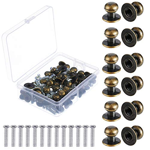 36 Stücke Mini Rund Kopf Knöpfe Vintage Antik Bronze Schublade Metall Rundkopf Ziehen Griff mit Schrauben für Holz Box Schubladen Schränke