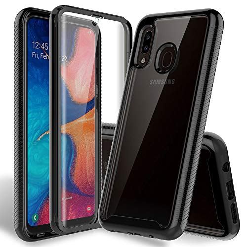 HATOSHI Samsung Galaxy A20 Case, A30 Case with Built-in Screen Protector Heavy Duty Protection Crystal Clear Back Armor Shockproof TPU Bumper Protective Phone Cover for Galaxy A20, A30 -Black
