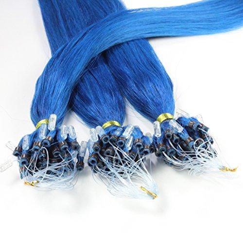 hair2heart 25 x 1g Echthaar Microring Loop Extensions, 40cm - glatt - #blau
