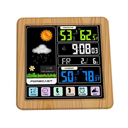 Yujum Full-Touchh Wireless Meteorological Color Clock Indoor-Datumsuhr, Temperatur-Luftfeuchtigkeitsprüfung Außentemperatur-Luftfeuchtigkeitsmesser unterstützt Sieben Sprachen