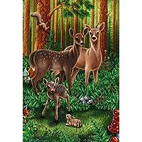 大人5D DIYダイヤモンドキット絵画、森AnimalsPaintことで数キットラウンド完全緩和のためのアートパーフェクトドリルや家の壁の装飾 F