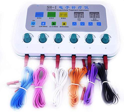 DDDXF Dispositivo De Electroestimulación Multifunción Tens EMS Dispositivo De Estimulación Muscular 6 Canales Equipo De Terapia De Acupuntura Meridian Cuerpo Entero Estimulación Relajante Disp