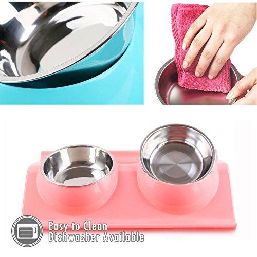 UBEST Hundenapf Anti-Schmutz Design Fressnapf abwaschbar Edelstahlnäpfen für Hunde und Katzen, Rosa - 4