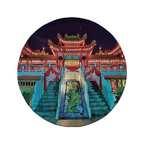 Rutschfreies Gummi-rundes Mauspad Wohnkultur bunter ethnischer Tempel mit Laternen bei Nacht Feier Glück Asiatische Szene Wandgestaltung Multi 7.9x7.9x3MM