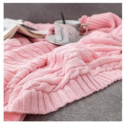 GuoCu Kuscheldecke Gestrickte Überwurf Decke,Platzdecke Wohndecke Tagesdecke Überwurf Decke für Bett & Sofa, Couch Pink 110 * 180cm