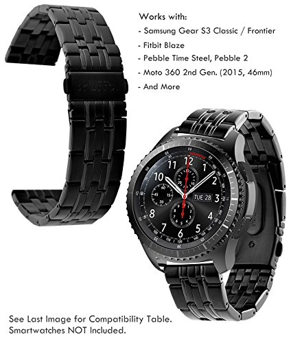Truffol 22mm Metal Band for Samsung Gear S3 Frontier & Classic, Fitbit Blaze, Huawei Watch 2 Classic - Quick Release Stainless Steel Strap Wristband (Black)
