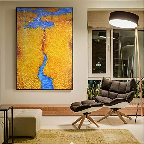 AJKCBAQ HD Grote Gouden Riet Canvas Schilderij Posters En Prints Home Decor Gele Kunst Muurfoto's Voor Woonkamer