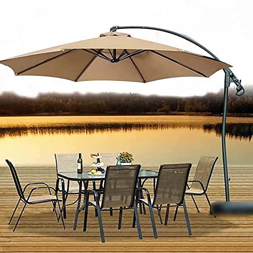 QDY -Sombrilla de jardín en voladizo, sombrilla de jardín de 3 m con manivela y Altura Ajustable, toldo para sombrilla al Aire Libre, protección UV para Patio y balcón,1 Khaki