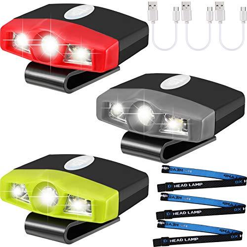 3 Stück ultrahelle Mini-LED-Kappenleuchten zum Anklippen, wiederaufladbar per USB, mit Bewegungsmelder, Kappe, Visier, wasserdicht, Hutlicht, Taschenlampe, Stirnlampe für Angeln, Camping, Handarbeit