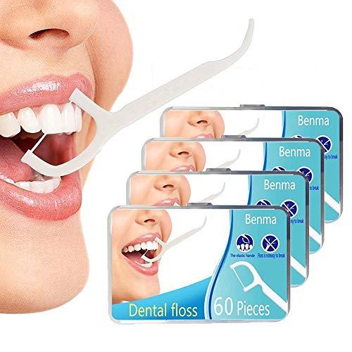 Zahnseide Sticks 4-Pack 240 Stück, Einwegzahnseide Dental Floss Zahnpflege Zahnreinigung Zahn Draht Flossers Hygienisch Zahnstocher mit Tragbar Verpackt Perfekt für Familien, Hotels und Reisen