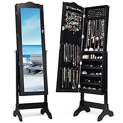 Giantex Jewelry Cabinet Armoire Lockable with Mirror, Classic Full Length Mirrored Organizer Storage Box for Bedroom Necklace Free Floor Standing Multiple Shelves, Jewelry Armories Cabinets
