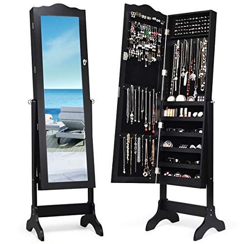 Giantex Jewelry Cabinet Armoire Lockable with Mirror, Classic Full Length Mirrored Organizer Storage Box for Bedroom Necklace Free Floor Standing Multiple Shelves, Jewelry Armoires Cabinets, Black