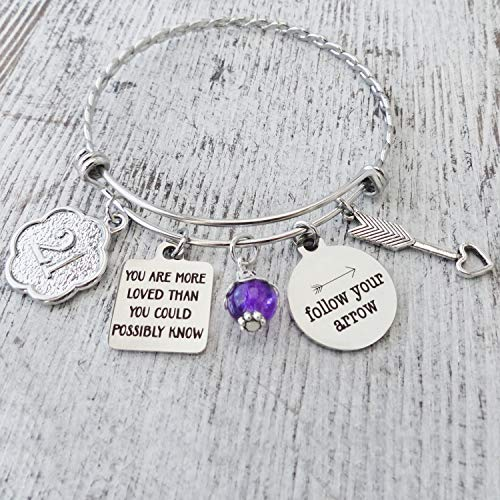 21 Year Old Birthday Gifts for Her, 21st Bracelet, Birthday Gift 21, Follow Your Arrow Bangle, Happy Birthday Jewelry for Best Friend Daughter Granddaughter Niece