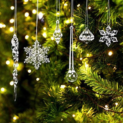 LOVEXIU Decoración De áRbol De Navida, CaráMbano De Navidad DecoracióN De CaráMbano De AcríLico,Colgante De Copo De Nieve, Adornos De Copo De Nieve para Colgar DecoracióN Navideña