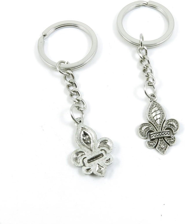 200 Pieces Fashion Jewelry Keyring Keychain Door Car Key Tag Ring Chain Supplier Supply Wholesale Bulk Lots N4BS1 Fleur De Lis Iris Lily