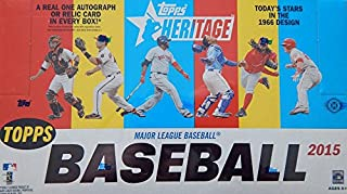 2015 Topps Heritage MLB Baseball Factory Sealed HOBBY Box with 24 Packs and 225 Cards ! Includes Autograph or Game Used Relic Card Plus EXCLUSIVE HOBBY only 1966 Topps Box Loader !