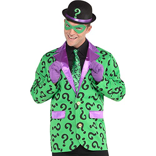 Suit Yourself Riddler Halloween Costume Accessory Kit for Adults, Batman Villain, One Size, Includes Hat, Tie and More