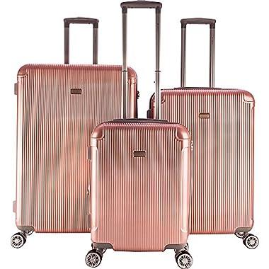 Gabbiano Genova 3 Piece Expandable Hardside Spinner Luggage Set (Rose Gold)