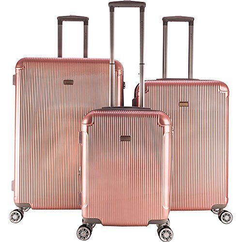 Gabbiano Genova 3 Piece Expandable Hardside Spinner Luggage Set (Rose Gold)