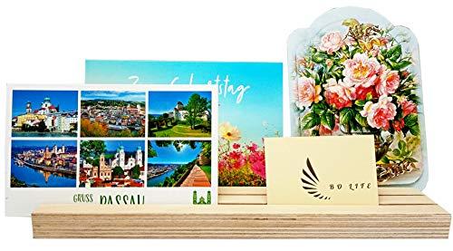 BO-LIFE dekorativer Fotohalter aus Holz zum aufstellen von Bildern, Postkarten, Spielkarten usw.