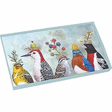 Paperproducts Design Gift Boxed Glass Tray with Beautiful Bird Design, 10.5 x 6 x 1 , Multicolor