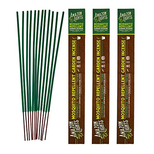 Amazon Lights Mosquito Repellent Garden Incense   Made with Plant Based Ingredients   2.5 to 3 Hour Protection   12 Sticks per Tube   3 Pack