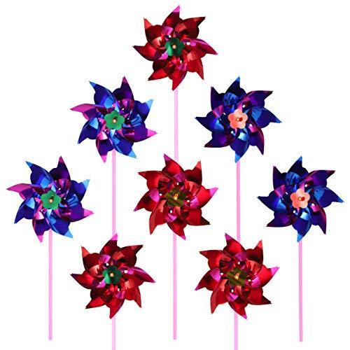 TOYANDONA 20 Piezas de Plástico Arco Iris Pinwheel Césped Pinwheel Fiesta Molino DIY Pinwheel para Niños Juguete Jardín Decoración de Césped Color Al Azar